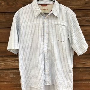 Simms Short Sleeve Button Down Shirt Sz L